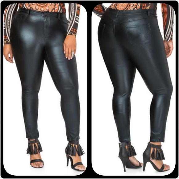 beda301520107 Ashley Stewart Pants | Metallic Black Skinny Jeans | Poshmark